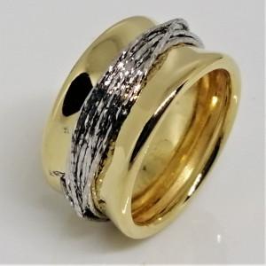 Inel argint placat cu aur galben cu fire din argint-ANPI0784RBGIA