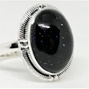 Inel argint - R35- piatra soarelui albastra