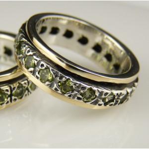 Inel argint si aur 14k cu peridot- R1615