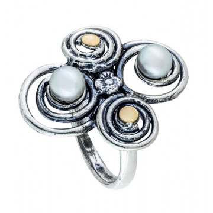 Inel argint si aur 9 k-11200 perle