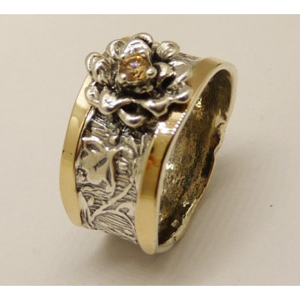 Inel argint si aur 9k -champagne quartz-11508