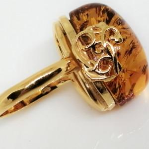 Inel din argint placat cu aur si chihlimbar R2089-1