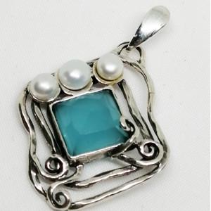 Pandantiv argint blue ocean cuart- N4862