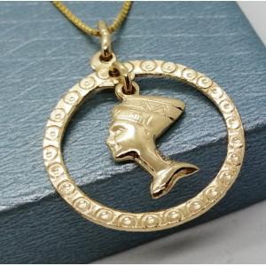 Pandantiv -argint placat cu aur galben-CNST0150AG -Nefertiti