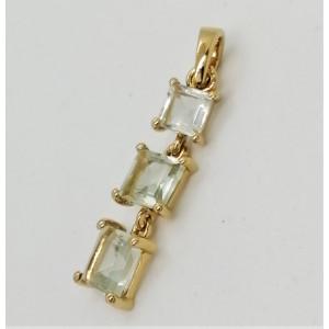 Pandantiv MARA-argint placat cu aur ametist verde -VP06902
