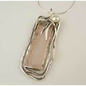 Colier argint cuart roz-N5424-1481