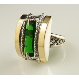 Inel argint si aur 9 k -10063 green quartz