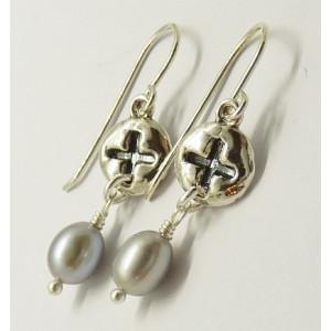 Cercei argint cu perla gri E3428