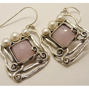 Cercei argint E5461-cuart roz
