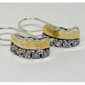 Cercei argint si aur 14k - E20914 zircon