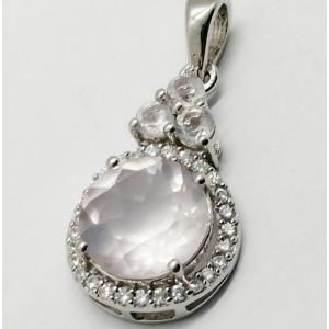 Pandantiv argint cuart roz-VP015800