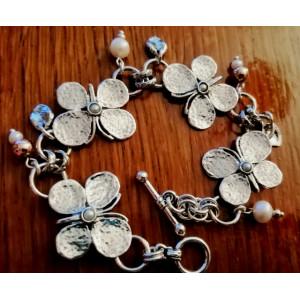 Bratara de argint cu perle si goldfilled B411