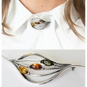 Brosa argint chihlimbar -BRO039
