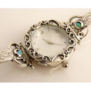 Ceas 925 lucrat manual cu pietre de opal W4132-2