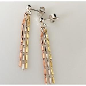 Cercei 3 culori -argintsi argint placat cu aur galben si roz -ORSS2776RT