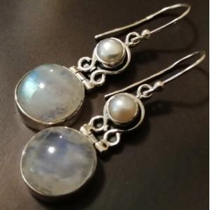 Cercei argint- E9- piatra lunii