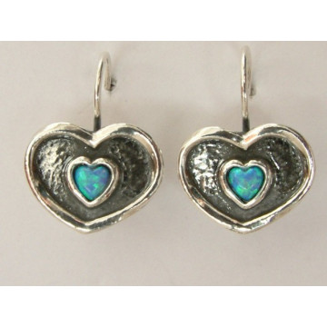 Cercei argint inimioare opal E630