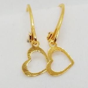 Cercei argint placati cu aur-INIMIOARE - E4369A
