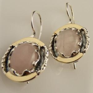 Cercei argint si aur 9 k -30812 cuart roz