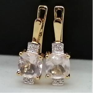 Cercei Claire -argint placat cu aur VE030172 Cuart roz