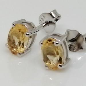 Cercei delicati din argint cu surub VE014818-citrin