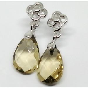 Cercei delicati din argint -VE015987 honey quartz