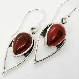 Cercei din argint - E104 onix rosu
