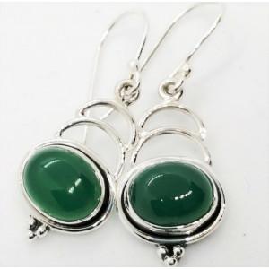 Cercei din argint - E118 onix verde