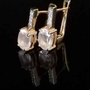 Cercei Maria -argint placat cu aur galben- VE015725-cuart roz