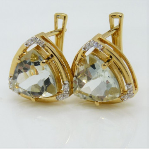 Cercei Oana-argint placat cu aur galben - VE016161 Ametist verde