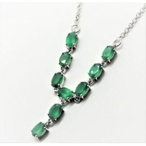 Colier argint onix verde -VNCK015832