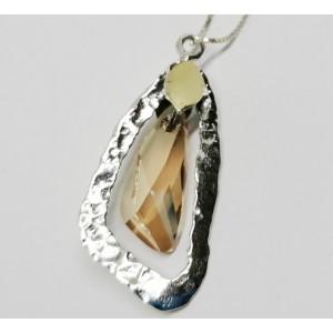 Colier argint si aur 14k -B245 champagne quartz