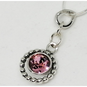 Colier argint Swarovski-N1128 roz