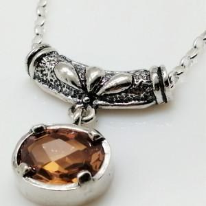 Colier din argint- champagne quartz N4511