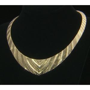 Colier masiv Cleopatra -argint placat cu aur galben- CTOM0155PLV5R