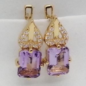 Cruella -Cercei argint placati cu aur galben -VE013917 pink ametist