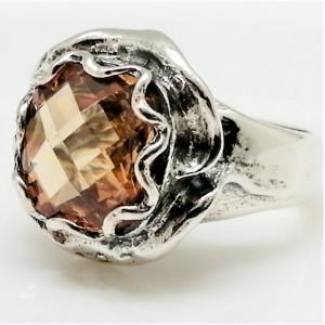 Inel argint champagne quartz R1967