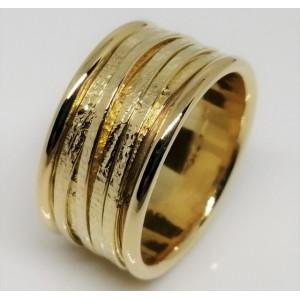 Inel argint placat cu aur galben cu fire din argint-ANPI0746PLGIA