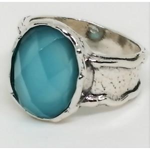 Inel argint RW3122 blue ocean quartz