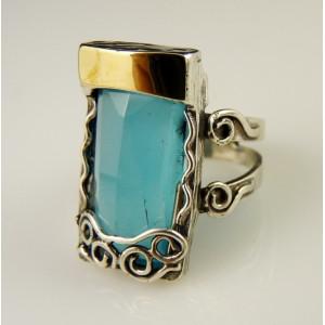 Inel argint si aur 14k -blue ocean quartz-100679