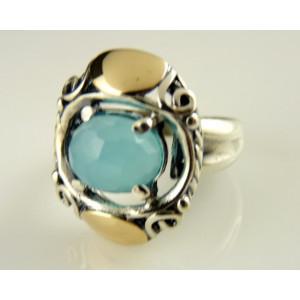 Inel argint si aur 9 k-10004 blue ocean quartz