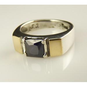 Inel argint si aur 9 k -10069 ametist