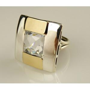 Inel argint si aur 9 k -10152 zircon