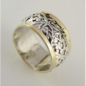 Inel argint si aur galben 14K -101245