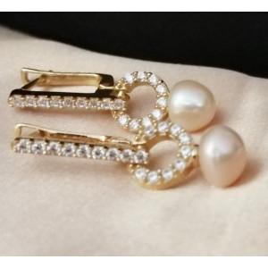 Massy-Cercei argint placat cu aur galben VE034207-perla peach