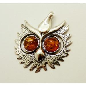 Pandantiv argint chihlimbar P429-Bufnita