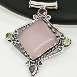 Pandantiv argint cuart roz- P268