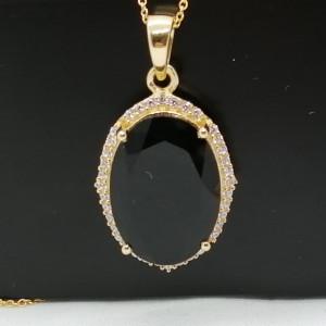 Pandantiv DONA-argint placat cu aur onix -VP013539