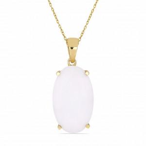 Pandantiv Evry -argint placat cu aur galben - VP05435 onix alb