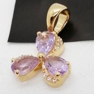 Pandantiv Iasmina-argint placat cu aur galben - VP013772 pink ametist